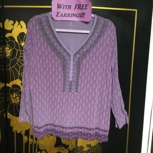 Very Violet Top XL & Earrings